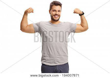 Guy flexing his biceps isolated on white background