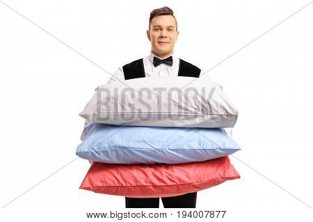 Butler with pillows isolated on white background