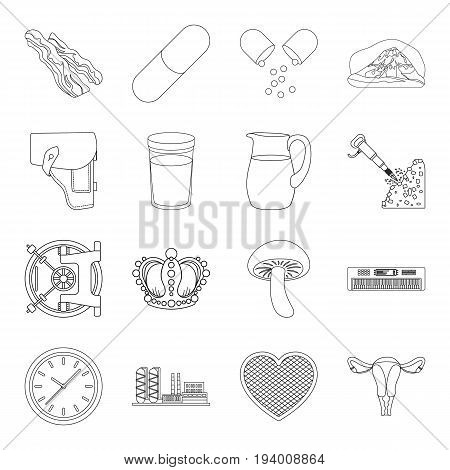 appendages, womb, finance and other  icon in outline style.cooking, travel, war icons in set collection.
