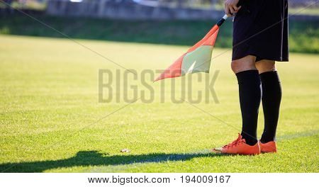 Soccer assistant referee on the field
