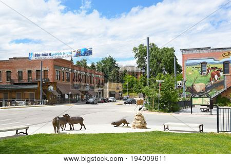 BUFFALO, WYOMING - JUNE 23, 2017: The Occidental Hotel. Founded in 1880 at the foot of the Bighorn Mountains near the Bozeman Trail, it became one of the most renowned hotels in Wyoming.