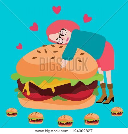 love burger junknfood lover delicious meat tasty vector