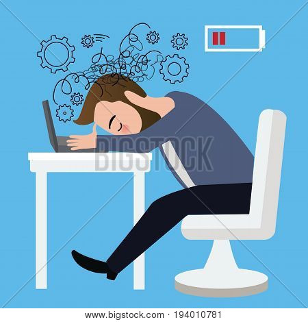 businessman worker stressed head down on laptop table angry crisis sitting depression career job vector