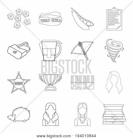 Weapons, food, weather and other  icon in outline style.Jug, sport, police icons in set collection.