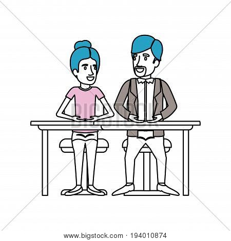 silhouette color sections of teamwork of woman and man sitting in desk and her with collected hair and him in casual clothes with van dyke beard vector illustration