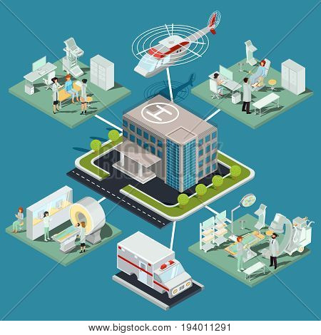 isometric illustrations of a medical clinic building with a helicopter pad, interior of MRI room, ultrasound room, gynecological office, operating room with the appropriate equipment