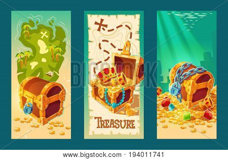 Collection of isolated cartoon vintage banners with wooden chests full of treasures, gold coins and jewelry on the background of a treasure map and on the seabed.
