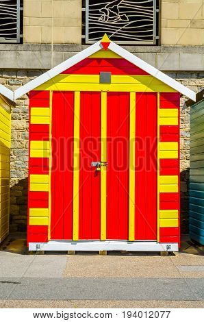 Red And Yellow House On The Beach, Colorful Door To Summer Cottages, Seaside Spot