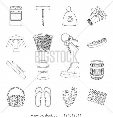 entertainment, sport, transportation and other  icon in outline style.kitchen, travel, alcohol icons in set collection.
