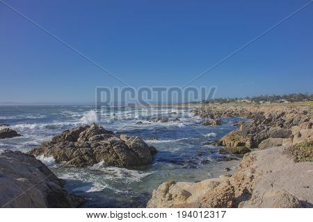 Scenic rocky coastline 17 mile drive Pebble Beach California