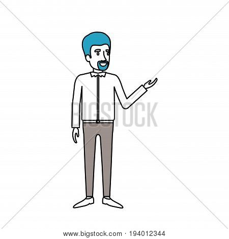silhouette color sections of man with van dyke beard standing in formal clothes vector illustration