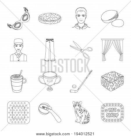 animal, sport, medicine and other  icon in outline style.food, Brazil, fan icons in set collection.