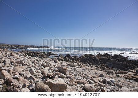 View of ocean along 17 mile drive Pebble Beach near China Rock