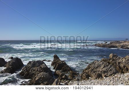 View of the restless sea long 17 mile drive Pebble Beach California