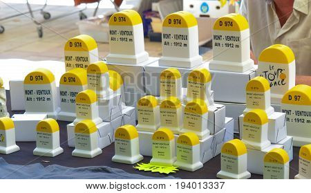 BEDOIN, FRANCE - AUGUST 1, 2016: Small souvenir of level stones of a mountain Mont Ventoux at the market in Provence France