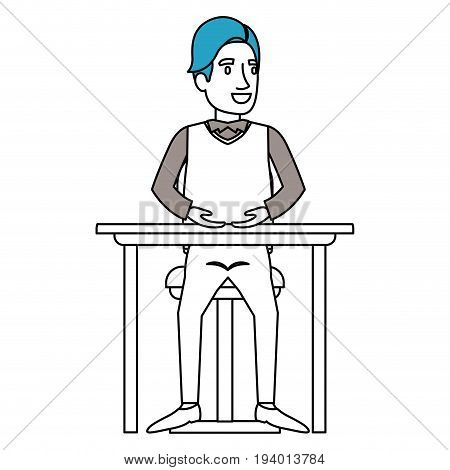 silhouette color sections of man in formal clothes and hair side fringe and sitting in chair in desktop vector illustration