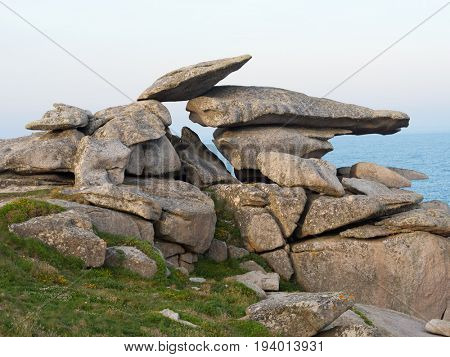 Pulpit Rock formation, St. Mary's Isles Of Scilly, Cornwall UK.