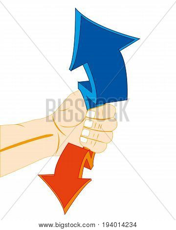 Decorative arrows in hand of the person on white background