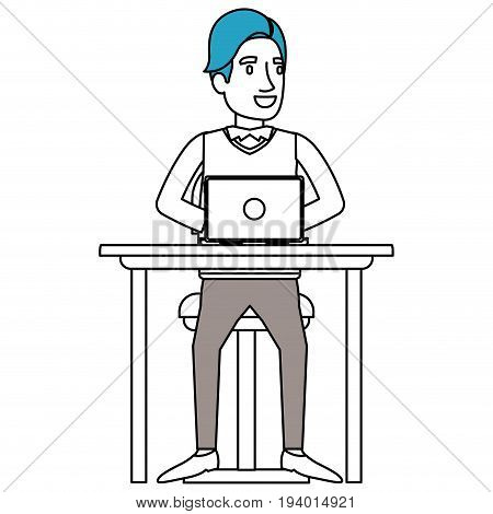 silhouette color sections of man with formal suit and side fringe hair and sitting in chair in desk in laptop device vector illustration