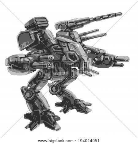 Battle robot. Science fiction. Vector illustration. Original sci-fi military vehicle.