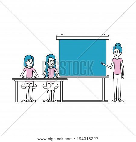silhouette color sections with couple of women sitting in a desk for female executive in presentacion business people vector illustration