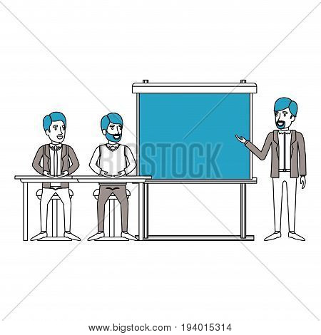 silhouette color sections with couple of man sitting in a desk for executive orator in presentacion business people vector illustration