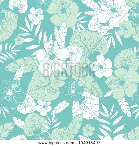 Vector light green and blue tropical summer hawaiian seamless pattern with tropical plants, leaves, and hibiscus flowers. Great for vacation themed fabric, wallpaper, packaging. Surface pattern