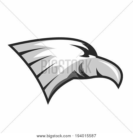 Vector Simple Bald Eagle Head Illustration isolated on white background