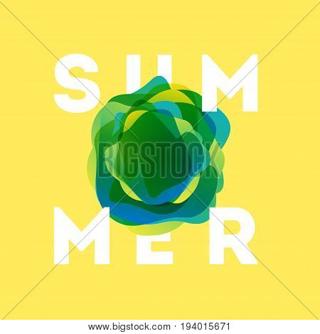 Colorful modern summer poster. Creative splash gradient illustration with text summer. Tropical bubble