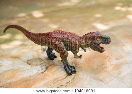 tyrannosaurus toy stands on rock in day time