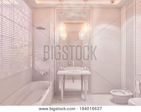 3D Render Bathroom Islamic Style Interior Design