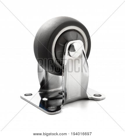 chrome plated industrial steel caster on a white background with clipping path