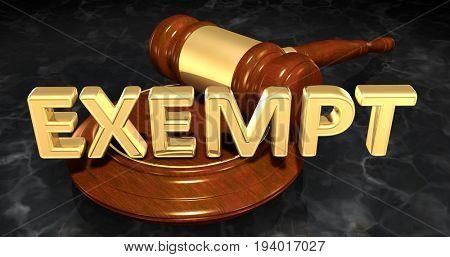 Exempt Law Concept 3D Illustration