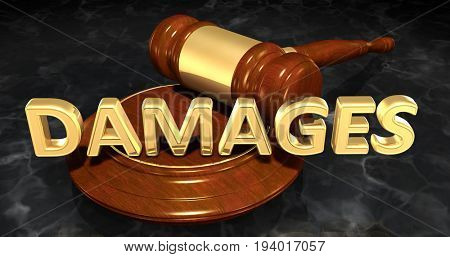 Damages Law Concept 3D Illustration