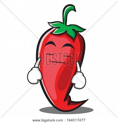 Boring red chili character cartoon vector illustration
