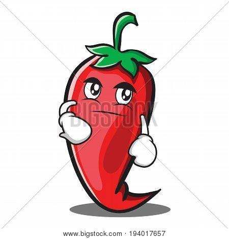 Smirking red chili character cartoon vector illustration