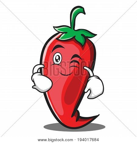 Wink red chili character cartoon vector illustration