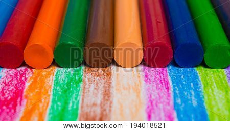 Colourful crayons background