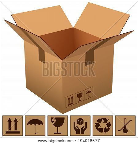 an open cardboard box and icons of fragility and recycling vector illustration