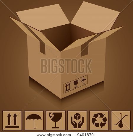 cardboard box and icons of fragility and recycling vector illustration