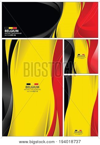 Belgium flag abstract colors background. Collection banner design. brochure vector illustration.