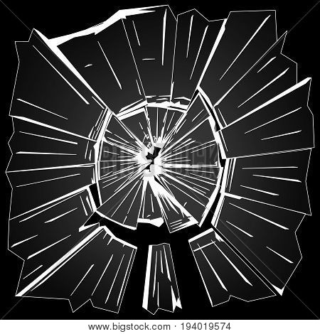 the fragments of broken window glass on black background vector illustration