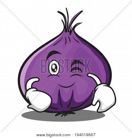 Wink red onion character cartoon vector illustration