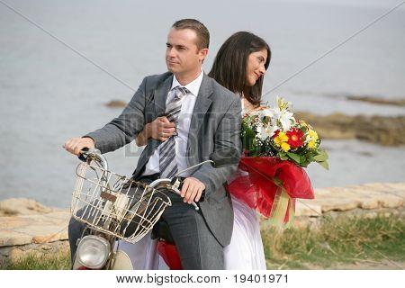 Just Married - bride and groom eloping