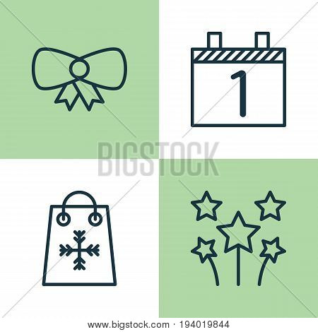 Happy Icons Set. Collection Of Festive Fireworks, Agenda, Trading And Other Elements. Also Includes Symbols Such As Shopping, Tie, Agenda.