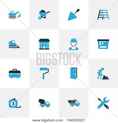 Building Colorful Icons Set. Collection Of Case, Maintenance, Digger And Other Elements. Also Includes Symbols Such As Bulldozer, Construction, Putty.