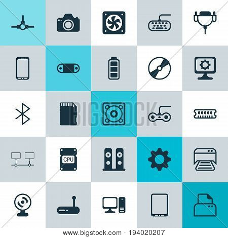 Computer Icons Set. Collection Of Music, Desktop Computer, Joystick And Other Elements. Also Includes Symbols Such As Photo, Symbol, Connection.