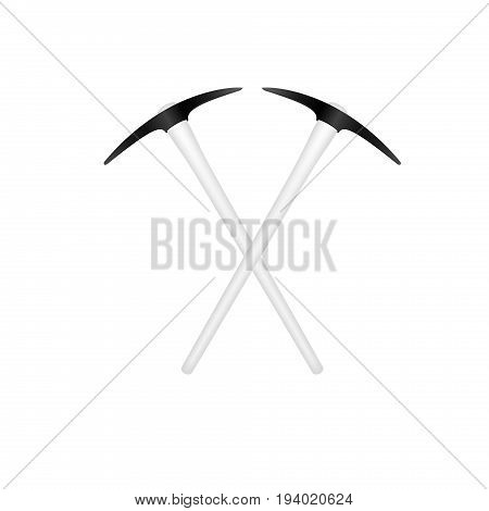 Two crossed mattocks in black design with white handle on white background