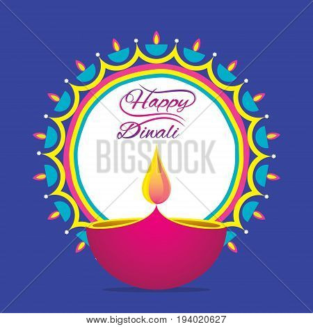 creative happy diwali greeting design diya rangoli