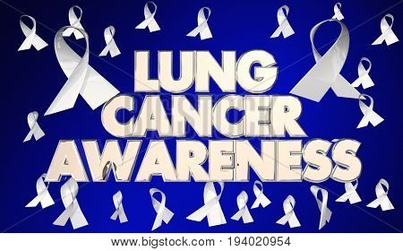 Lung Cancer Awareness Ribbons Disease Fund Raiser 3d Illustration